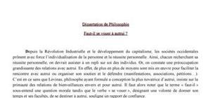 Dissertation philosophie gratuite vrit