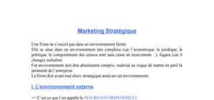 Le marketing stratégique