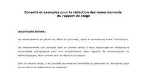 Remerciements D Un Rapport De Stage Exemples Gratuits