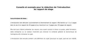Exemple d'introduction de rapport de stage