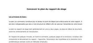Concevoir le plan d'un rapport de stage