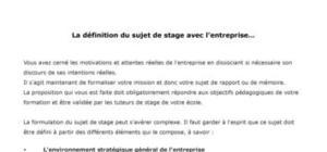 La définition du sujet de stage avec l'entreprise