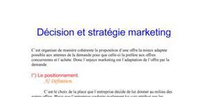 Décision et stratégie marketing