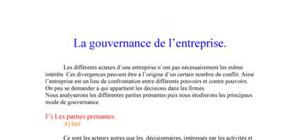 La gouvernance d'entreprise