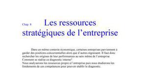 Les ressources stratégiques de l'entreprise