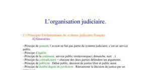 L'organisation judiciaire.