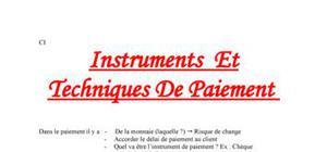Les Instruments et techniques de Paiement
