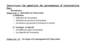 gestion et processus d'innovation