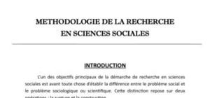 Methodologie de la reherche en sciences sociales