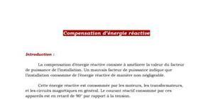Electrotechnique - Compensation de l'energie réactive