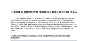 L'impact du diplôme sur le chômage des jeunes en France en 2002