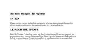 Bac fiche français : les registres