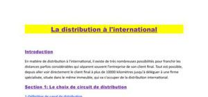 le distribution à l'international
