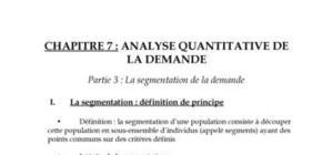 Analyse quantitative de la demande
