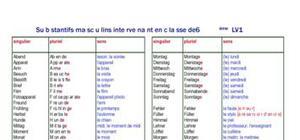 Substantifs masculins intervenant en 6ème LV1