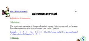 Les équations du 1er degré
