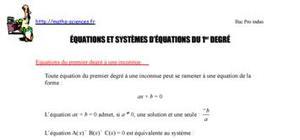 Equations et systèmes d'équations du 1er degré