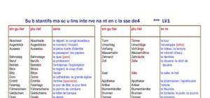 Substantifs masculins intervenant en 4ème LV1