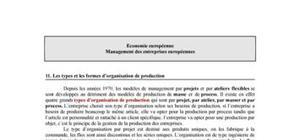 Les types et les formes d'organisation de production