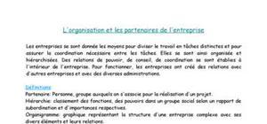 L'organisation et les partenaires de l'entreprise