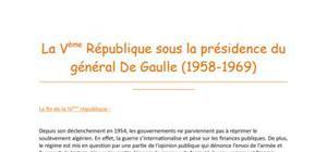 La Vème république sous la présidence de De Gaulle (1958-1969)