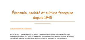 Economie, société et culture française depuis 1945