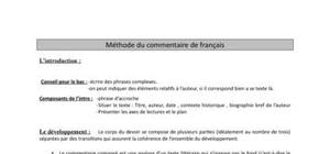 Methodologie : Commentaire francais