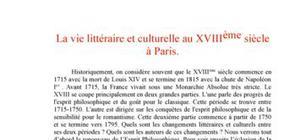 La vie littéraire et culturelle au XVIIIème siècle à Paris