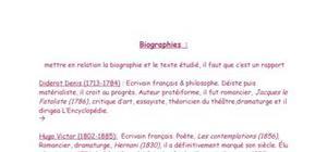 Biographies pour le bac de français à l'oral