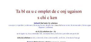 Tableau de conjugaison du verbe schicken