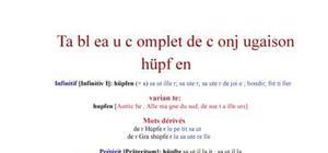 Tableau de conjugaison du verbe hüpfen