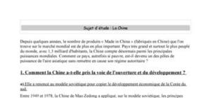 La chine : son ouverture et son développement