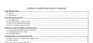 Synthèse et méthodologie analyse financière