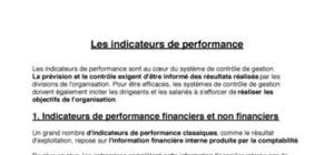 Les indicateurs de performance