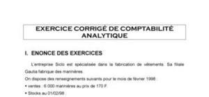 EXERCICE CORRIGE DE COMPTABILITE ANALYTIQUE