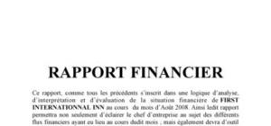 EXEMPLE D'UN RAPPORT FINANCIER