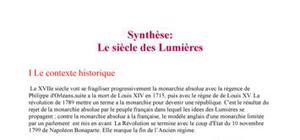 Synthèse: le siècle des lumières