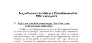 Les politiques d'incitation à l'investissement de 1960 à nos jours