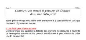 Comment est exercé le pouvoir de décision  dans l'entreprise? (fiche revision)