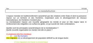 La mondialisation (fiche revision)