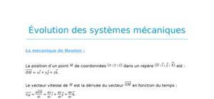 Evolution des systèmes mécaniques - fiche révision bac