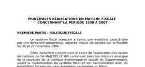 Les Principales réalisations en matière fiscale concernant la période : 1998 A 2007