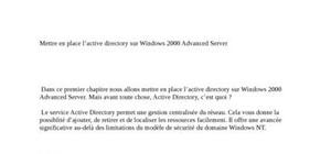 L'active directory sur Windows 2000 Advanced Server