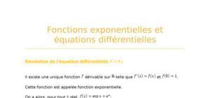 Fonctions exponentielles et équations différentielles