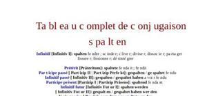 Tableau de conjugaison du verbe spalten