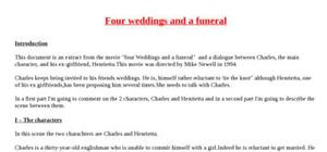 Explication de texte : four weddings and a funeral