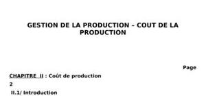 Gestion de la production - coût de la production