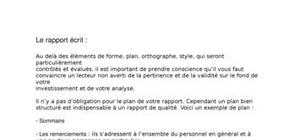 Méthodologie du Rapport Ecrit