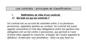 Les contrats : principes et classifications
