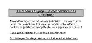Le recours au juge : la compétence des juridictions